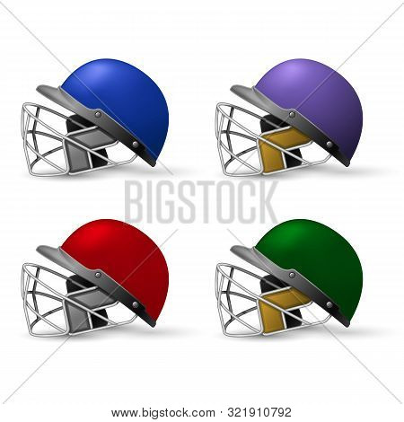 Cricket Helmets Set With Protective Grill, Cricket Headpiece Side View