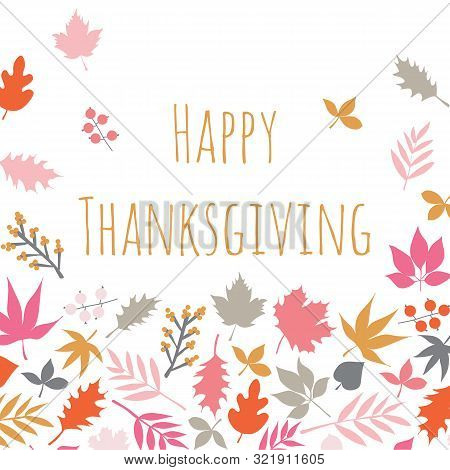 Happy Thanksgiving Scandi Style Card With Autumn Abstract Doodle Leaves Background. Thanksgiving Tem