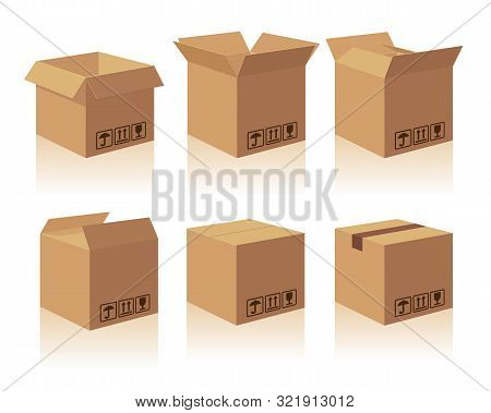 Open And Closed Recycle Brown Carton Delivery Packaging Box With Fragile Signs. Collection Vector Il