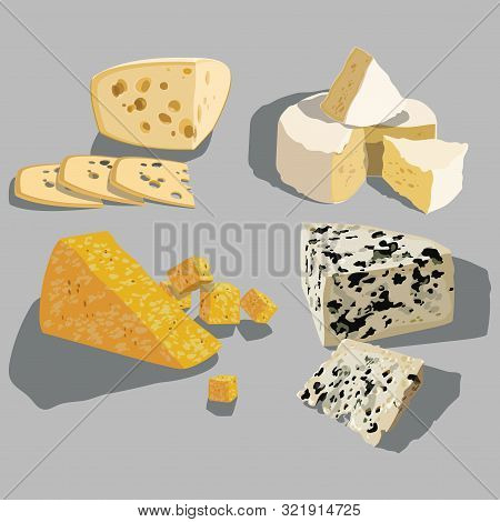 Set Of Cheeses. Collection Of Cartoon Cheeses. Dairy. Vector Illustration.