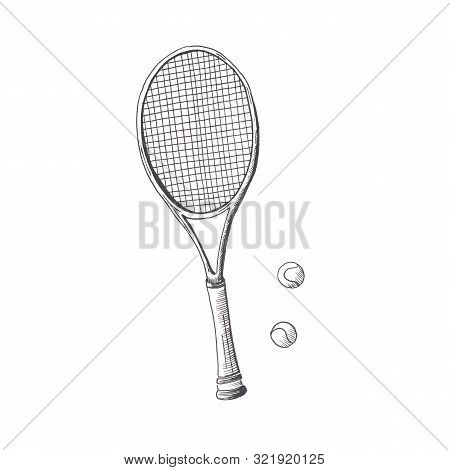 Tennis Racquet. Hand Drawn Sketch Style Tennis Racquet With Tennis Balls. Isolated On White Backgrou