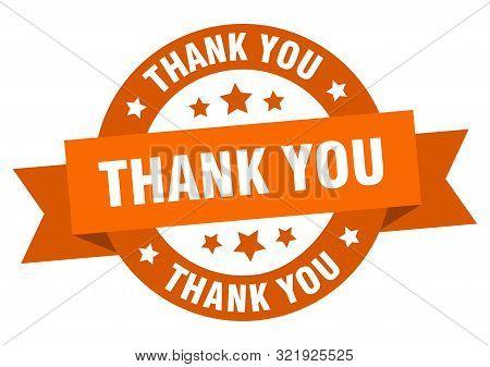Thank You Ribbon. Thank You Round Orange Sign. Thank You