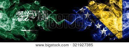 Saudi Arabia Kingdom Vs Bosnia And Herzegovina, Bosnian Smoky Mystic Flags Placed Side By Side. Thic