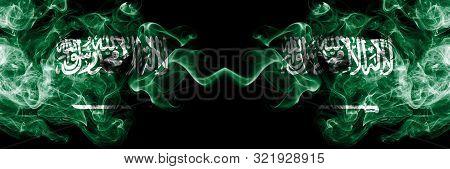 Saudi Arabia Kingdom Vs Saudi Arabia, Arabian Smoky Mystic Flags Placed Side By Side. Thick Colored