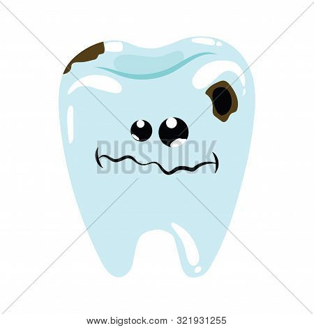 Cartoon Illustration Of A Sick Tooth. Caries On Teeth. Hygiene Of The Oral Cavity. Drawing For Child