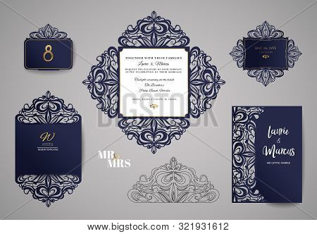 Wedding Invitation Or Greeting Card With Gold Floral Ornament. Wedding Invitation Envelope For Laser