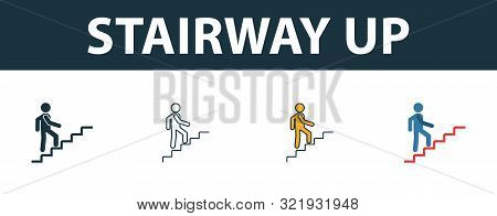 Stairway Up Icon Set. Four Simple Symbols In Diferent Styles From Shopping Center Sign Icons Collect