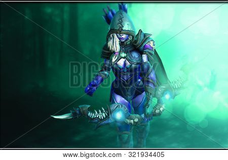 Cute And Beautiful Warrior Anime Girl With Sword
