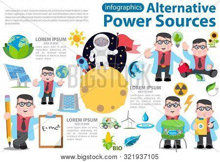 Alternative Energy Infographics. Solar Panels, Wind Turbines, Hydro Dam, Biological Energy Sources.