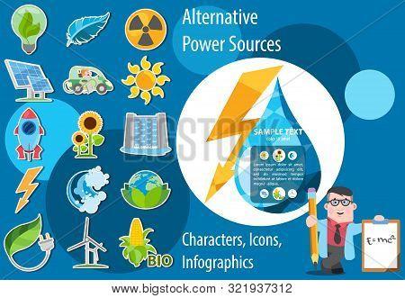 Alternative Energy Icons. Solar Panels, Wind Turbines, Hydro Dam, Biological Energy Sources.