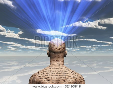 Man with story on his skin radiates light from his head