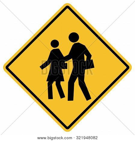 Traffic Sign- School Zone Warning Board. Great For Icon,sign,symbol,logo,sticker Etc.