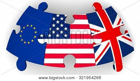Cooperation Of Usa, Uk And Eu. Puzzles With Flags Of United States Of America, United Kingdom And Eu