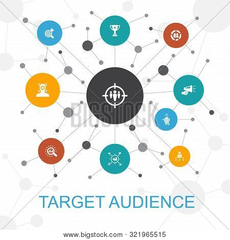 Target Audience Presentation Template, Cover Layout And Infographics Consumer, Demographics, Niche