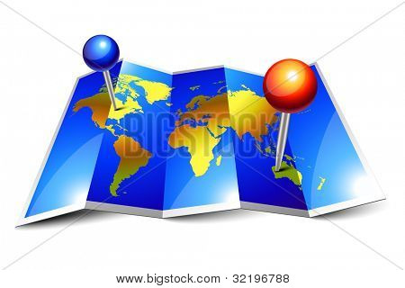 Blue shiny world map and pins on folded paper