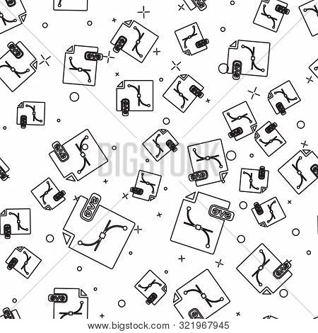 Black Line Svg File Document. Download Svg Button Icon Isolated Seamless Pattern On White Background
