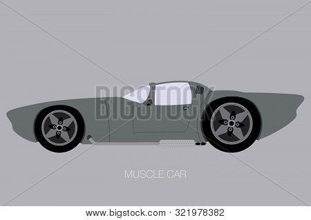 Muscle Car Fully Editable, Flat Design Style, Side View Car