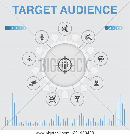 Target Audience Infographic With Icons. Contains Such Icons As Consumer, Demographics, Niche