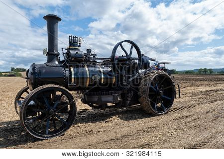 Haselbury Plucknett.somerset.united Kingdom.august 18th 2019.a Restored Traction Engine Is On Displa