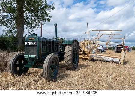 Haselbury Plucknett.somerset.united Kingdom.august 18th 2019.a Vintage Fordson Major Attatched To An