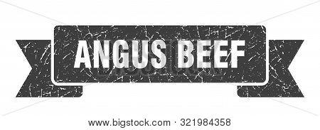 Angus Beef Grunge Ribbon. Angus Beef Sign. Angus Beef Banner
