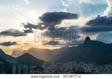 Aerial View Of Rio De Janeiro With Christ Redeemer And Corcovado Mountain. Brazil. Latin America, Ho