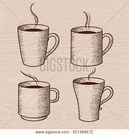 Vintage Set Of Vector Illustration Of Coffee And Cups. Cup Of Coffee, Latte, Cappuccino And Tea Draw