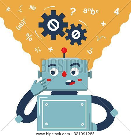 The Robot Ponders The Solution To The Problem. The Thinking Process Of The Machine. Flat Vector Char