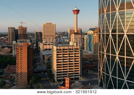 Calgary, Canada - August 5, 2019: Panoramic Image Of The Skyline Of Calgary During Sunrise On August