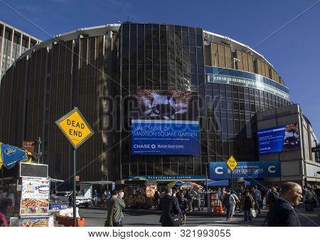 New York, New York/usa - May 21, 2019: Madison Square Garden And Pennsylvania Station Entrance.