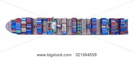 Aerial Top View Of Container Cargo Ship In The Export, Import Business, Logistics And Transportation