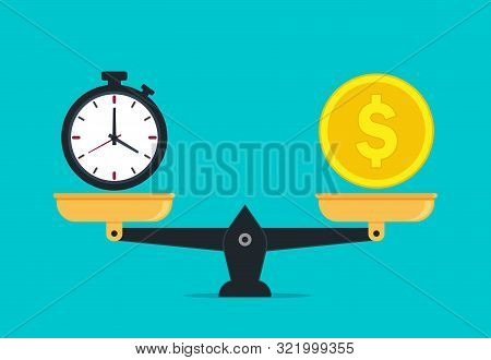 Scale Balance Of Time Is Money. Value Money Comparison And Time In Flat Style. Money And Time Balanc