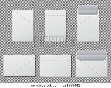 Envelope A4 Mockup. Template Paper Letter, Folder. Standard White Blank Letter Envelopes A4 Size. Op