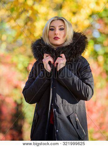 Versatile Functional And Stylish. Girl Wear Parka While Walk Park. Autumn Season Fashion Concept. Pu