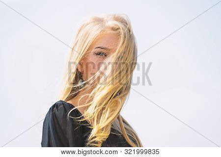 Girl Tender Blonde Makeup Face Sky Background. Bleaching Roots. How To Repair Bleached Hair Fast And