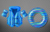 set with blue rubber ring, life jacket and inflatable armbands for kids isolated on background. Swim aids to help children float in water, equipment for swimming in pool and sea poster
