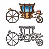 Isolated icons for fairytale carriage or chariot poster