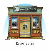 Key shop or locks store. Building for keylock retail or keyway duplication, electric key and locks creation for house. Facade or front of construction, outdoor or exterior view.Architecture, cityscape poster