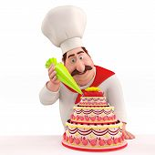 3D illustration of Happy Chef decorating cake isolated with white background poster