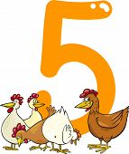 cartoon illustration with number five and hens poster