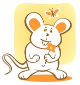 Cartoon happy mouse and flower on a yellow background. poster