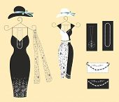 Buying stylish dresses.Editable and scalable vector illustration poster