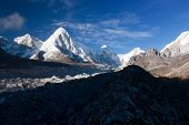 khumbu valley, khumbu glacier and pumo ri peak - nepal poster