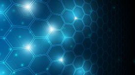 Blue Abstract Hexagon Net Technology Background,futuristic Hexagon Tech Background,cyberspace Techno