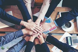 Teamwork Success.  Top View Executive Business People Group Team Happy Showing Teamwork And Joining