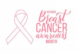 Pink Ribbon. Symbol Of World Breast Canser Awareness Month In October. Vector Illustration.
