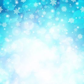 Magic Winter Glitter Background With Snowflakes. White Snowflakes On Light Blue Blurred Backdrop. Te