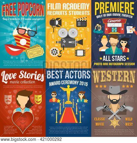 Movie Premiere Mini Promo Poster Templates Set Isolated Vector Illustration
