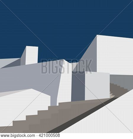 Modern Abstract Architecture. Aesthetic Background With Flat Geometry Architecture.minimal Cover Des