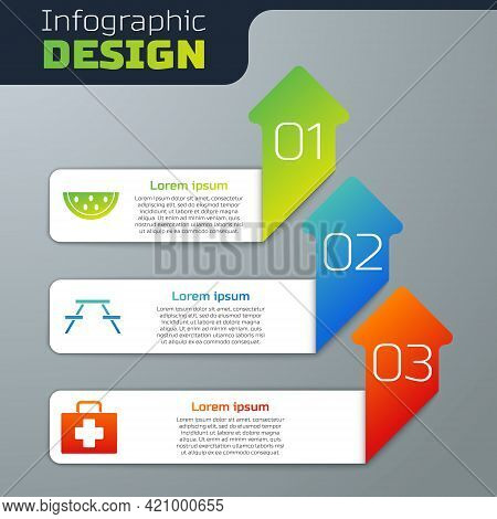 Set Watermelon, Picnic Table With Benches And First Aid Kit. Business Infographic Template. Vector
